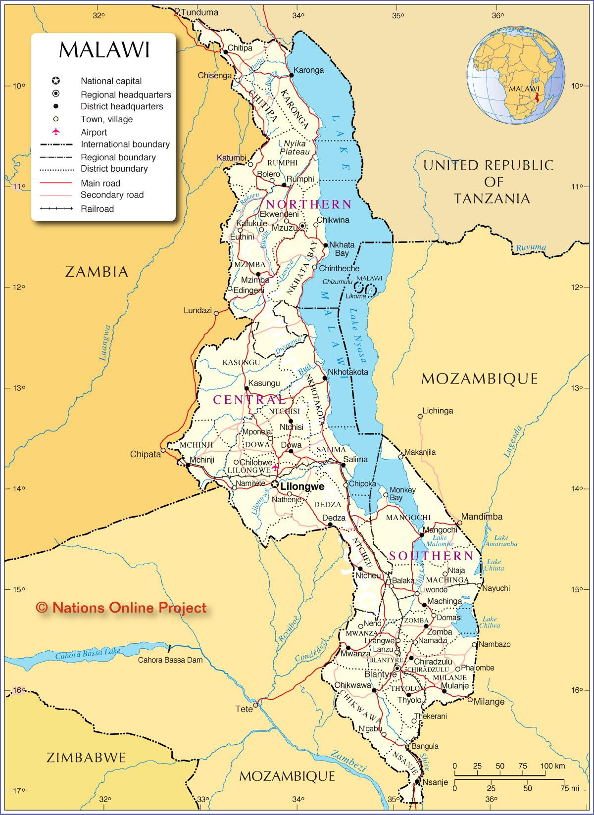 Malawi Map THiNk TwIcE - Malawi map