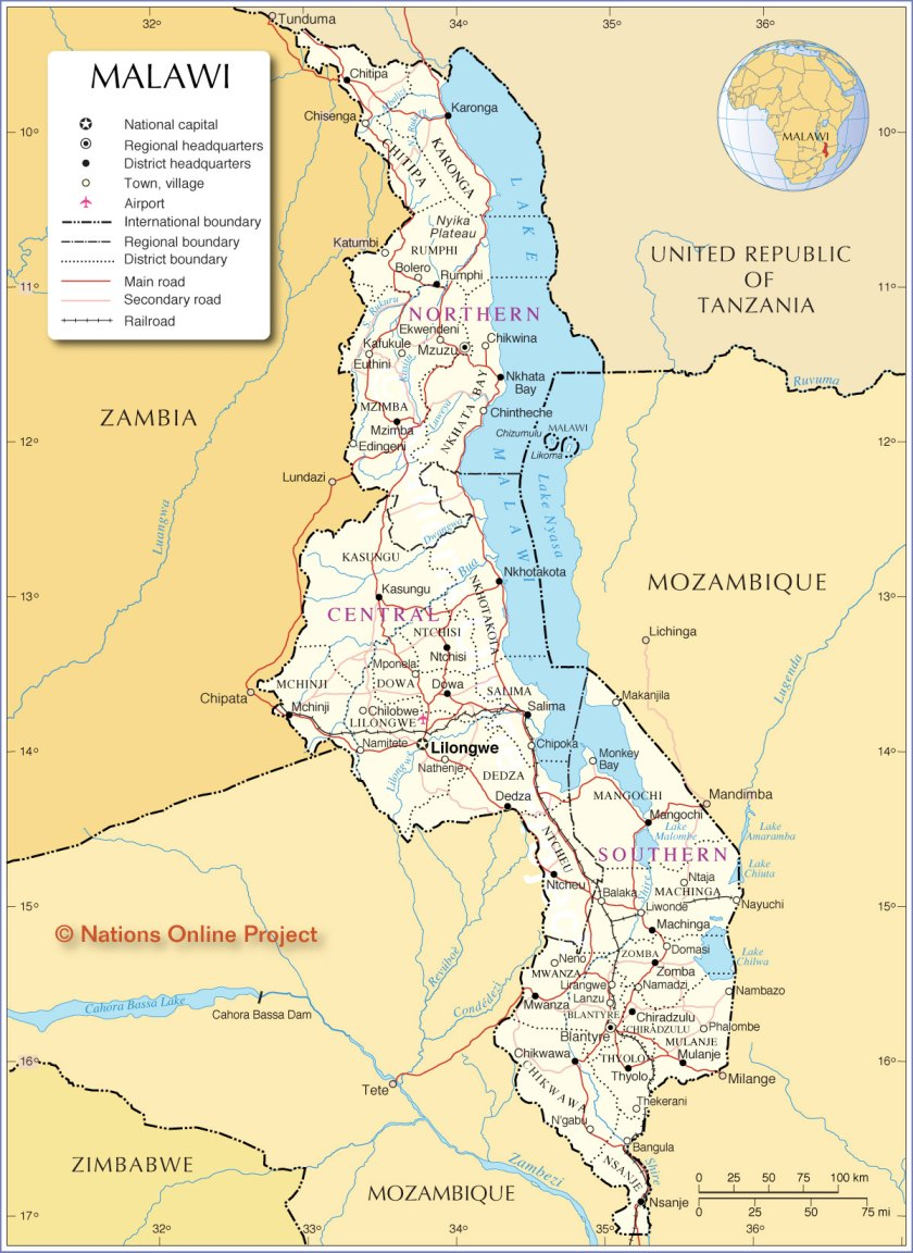 About 14 million live in Malawi
