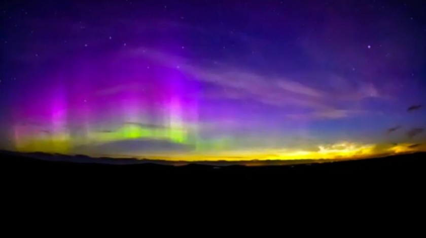 Noctilucent cloud and aurora