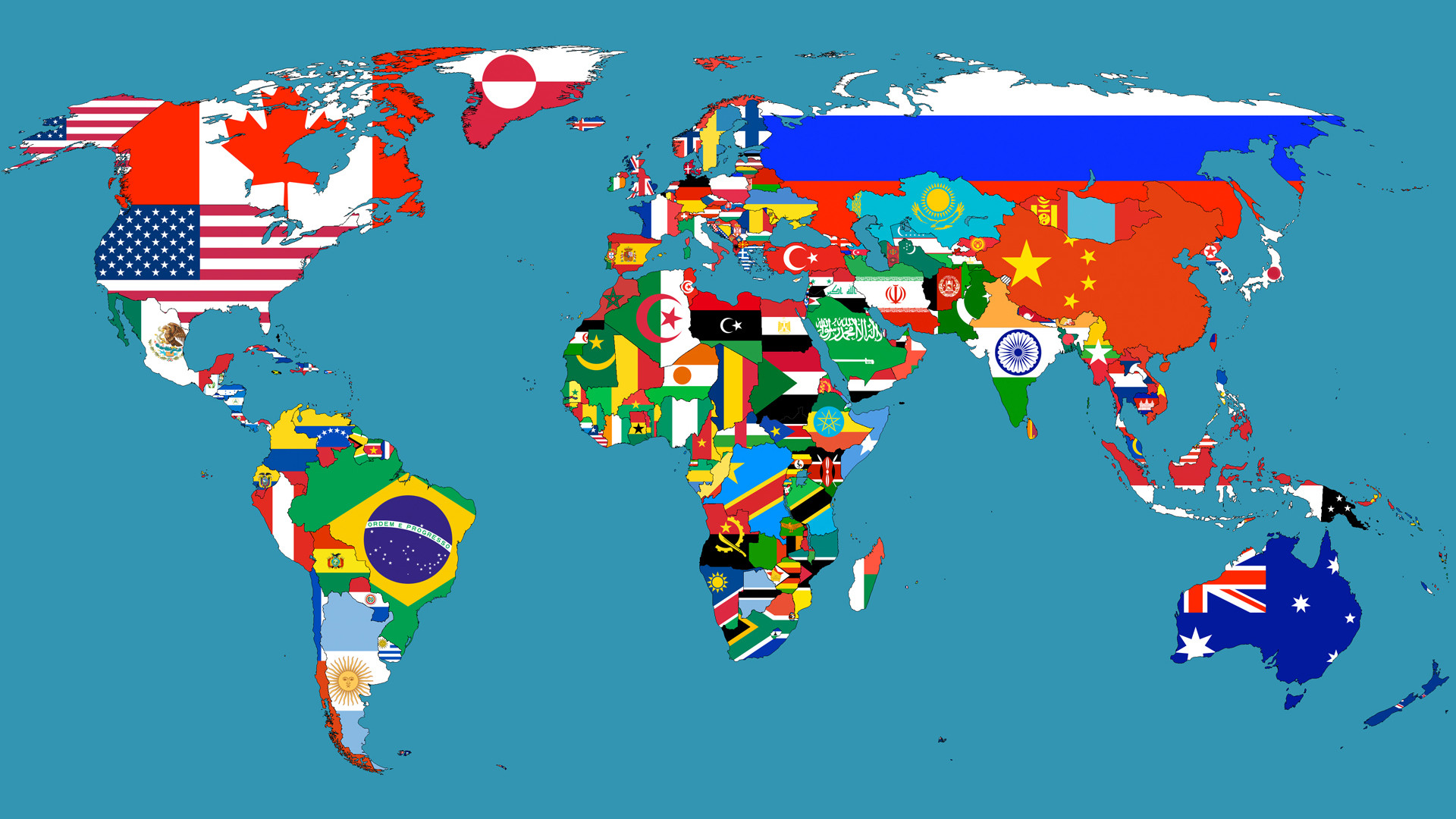 World Map In Flags THiNk TwIcE - The world map